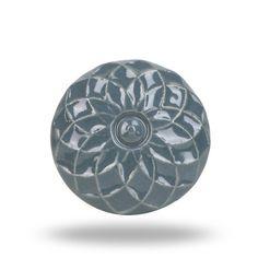 Ceramic Furniture Knob Dark Grey with Flower Design, Unique Floral Print Kitchen Cupboard Knob, Bathroom Cabinet Handle, Bedroom Drawer Pull
