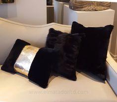 Luxurious Black Shorn Lambs wool and Fox fur cushions.