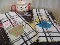 Tea for Two Kitchen Towels by DeonnaKohnenhandmade on Etsy