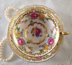 Royal Chelsea Tea Cup and Saucer Teacup Duo~1940s