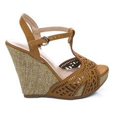 Legend1 Peep Toe Cut Out Design Braided Raffia Wrap Platform Wedge Sandals