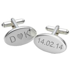 Personalised Initials and Date Cufflinks  from www.personalisedweddinggifts.co.uk :: ONLY £19.99