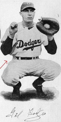 Gil Hodges of the Brooklyn Dodgers when he was still a catcher.