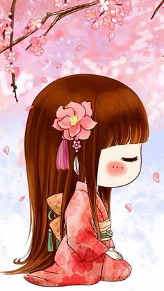 Japanese Quilts, Japanese Art, Anime Chibi, Kawaii Anime, Geisha Art, Manga Cute, Chibi Girl, Thinking Day, Kokeshi Dolls