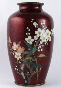 Vintage Japanese Cloisonné Guilloche Red Enamel Vase Japan Sakura Cherry Blossom   eBay