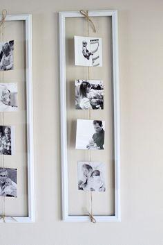 Photos suspendues dans un cadre vide