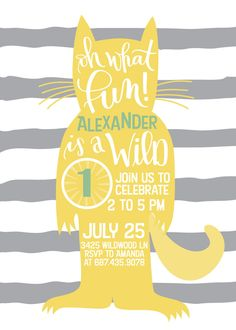 Have a little wild one in your house? This simple and sophisticated Wild One birthday invitation is perfect for any lively 1 year old's first birthday party. It features a hand lettered design with a 'wild thing' silhouette over a neutral striped background.