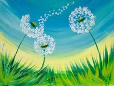 16 EASY Acrylic paintings you can do with cotton Swabs. Q-tip cotton Swab Dandelion with fluff Blowing Easy Beginner Acrylic painting By The Art sherpa