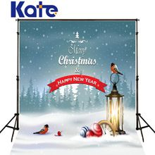 Kate Merry Christams Background For Photo Studio Bird Lamp Snow Foreast Digital Christmas Backdrop Photography For Baby J02168(China (Mainland))