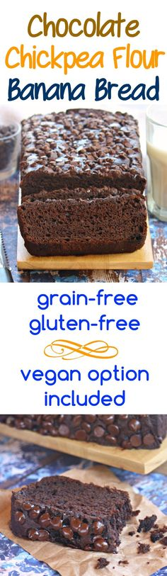 Easy-to-make, nutrient-packed, double chocolate banana bread made with chickpea flour--no one will believe that it is grain-free! And if you need to make it vegan, I've got you covered.