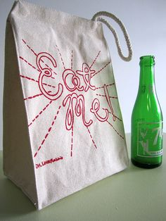 """""""Eat me!"""" screen printed recycled cotton lunch bag - reusable and washable - eco friendly,"""
