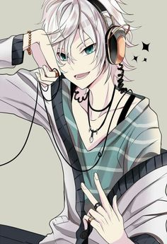 Anime boy, white hair, headphones, white jacket, blue eyes, rings; Anime Guys  Please tell me the name of this Anime and/or character if he is one if you know