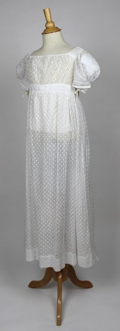 White Cotton Muslin Embroidered Regency Gown c. 1820