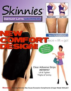 NEW DESIGN!  Skinnies SWIMMERS! Waterproof! Wear Under Your Skirted Swimsuit for Great Looking Legs & One Piece for Tight Tummy!$19.95, $200.00