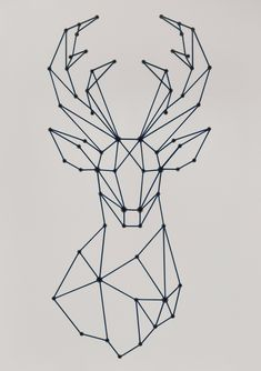 Stag (Dove / Light Grey) by SiFabricate - Geometric stag head design, large artwork made usin. : Stag (Dove / Light Grey) by SiFabricate - Geometric stag head design, large artwork made using shoelaces and eyelets - - Geometric Deer, Geometric Drawing, Geometric Shapes, String Art Templates, String Art Patterns, String Art Diy, Header Design, Stag Head, Deer Heads