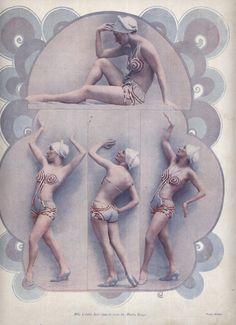 Bathing suit ad from the Art Deco styling. Burlesque Show, Burlesque Costumes, Vintage Art, Vintage Photos, Vintage Ladies, Vintage Dance, Le Moulin Rouge Paris, Toulouse, Folies Bergeres