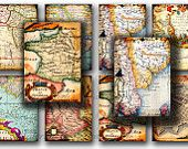 World Maps Old Vintage , France, Africa, China, Japan  - Gift Tags,  ACEO cards, Printable Digital Collage Sheet to Download and Print