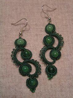 kolczyki frywolitkowe długie i zielone jak powój :)