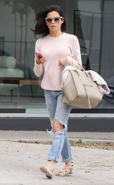 Blushing Beauty from Celebrity Street Style  In a soft blush top, Jenna Dewan-Tatum hits the street styling distressed jeans withJustFab torria sandals and a Celine bag.