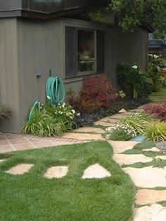 flagstone path for areas worn by dog traffic