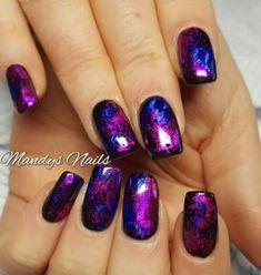 Pink Gold Nails, Metallic Nails, Cute Acrylic Nails, Purple Nail Art, Shiny Nails, Nail Art Designs, Purple Nail Designs, Acrylic Nail Designs, Foil Nail Art