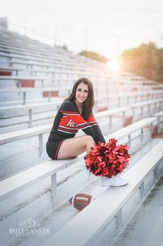 Cheerleading senior portraits in Fostoria Ohio by Britt Lanicek Photography | football stadium senior pictures | www.brittlanicekphotography.com
