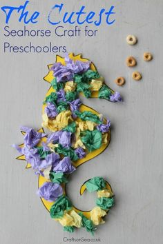 Not only is this seahorse craft for preschoolers insanely cute, it's also great for fine motor skills to help learn about colours.