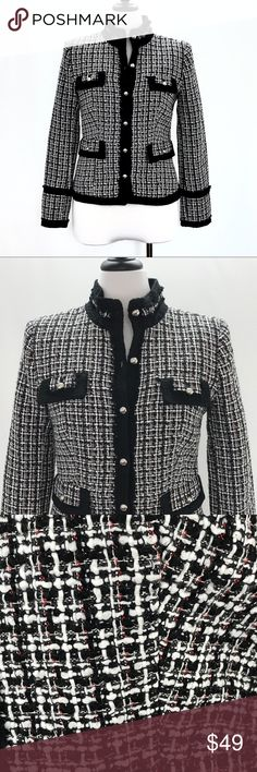 """White House Black Market Tweed Blazer Jacket White House Black Market Tweed Blazer Silk Blend Red Career Jacket CONDITION: Very good preowned condition with normal signs of light use. No major flaws or imperfections. No stains, holes or heavy wear.  APPROXIMATE MEASUREMENTS: All measurements are done with the Garment laying Flat: CHEST(pit to pit): 19.5"""" • SHOULDER TO SHOULDER: 16""""• SLEEVE LENGTH (Shoulder seam to cuff): 24.5""""• WAIST: 16""""• HIPS: 20""""• LENGTH (Bottom of collar to hem): 22.5""""…"""