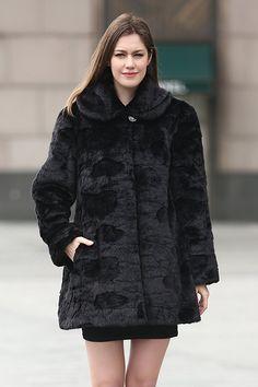 Adelaqueen Women's Trimmed Mink Faux Fur Strip & Block Style Lapel Coat at Amazon Women's Coats Shop