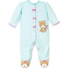 Little-Me-Girls-1-piece-Sleeper-Turquoise-Bear