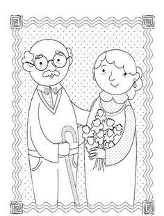 Dzień babci i dziadka - kolorowanka