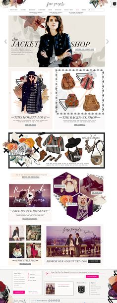 Image heavy. more unique than average layout. e-commerce Web Design Inspiration // Free People #webdesign #freepeople