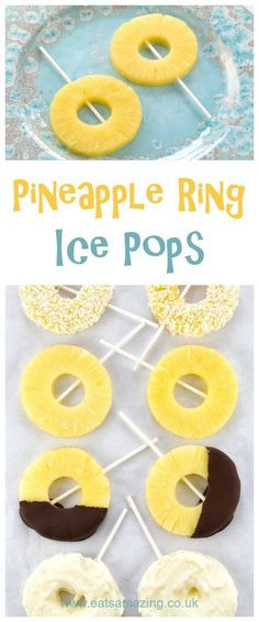 Super Easy Pineapple Ice Pops Recipe – 4 Ways! Easiest ever healthy pineapple ice lollies recipe with 4 different serving ideas – great kids snack idea for summer – Eats Amazing UK Paleo Snack, Ice Lolly Recipes, Coconut Dessert, Snacks Saludables, Brownie Desserts, Healthy Snacks For Kids, Snacks Kids, Snack Ideas For Kids, Fruit Snacks
