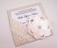 Vintage Script Lace Chic Wedding Invitation - Large Flower. $10.00, via Etsy.
