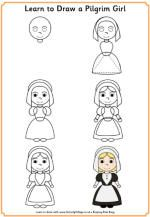 How to Draw Thanksgiving -- Turkey, Pilgrim boy and girl, Native American Boy and girl, Mayflower