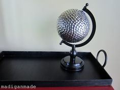 "Tacky And by tacky, I mean ""filled with thumbtacks."" For those who want to upcycle a globe to make it fit a home with modern aesthetics, this is … Old Globe, Modern Aesthetics, Rustic Crafts, Art Deco Home, Nail Art Diy, Glass Ball, Craft Activities, Bulletin Board, Easy Diy"