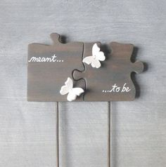 Cake Topper Puzzle Piece Wedding Cake Topper with Butterflies, Wedding Topper, Butterfly Cake Topper - wedding - Wedding Topper, Diy Wedding, Wedding Favors, Wedding Invitations, Wedding Rings, Wedding Shoes, Wedding Venues, Wedding Summer, Wedding Locations