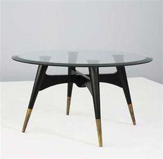 Carlo di Carli; Wood, Glass and Brass Coffee Table, c1945.