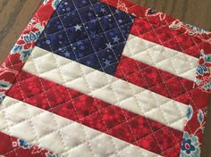 Patriotic American Flag Candle Mat Quiltsy by countrysewing4U