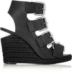 Alexander Wang Jo Buckled Leather Espadrille Wedge Sandals