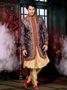 Every groom would want to drape this ensemble for more dazzling looks.  Item Code: SC2715 http://www.bharatplaza.com/new-arrivals/sherwanis.html