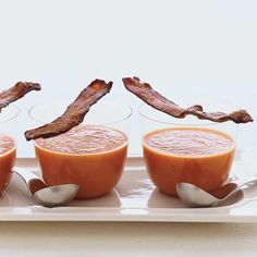 Smoky Tomato Soup with Maple-Candied Bacon // More Tasty Tomato Recipes: www. Linguine with Clams, Bacon and To. Bacon Recipes, Wine Recipes, Soup Recipes, Great Recipes, Cooking Recipes, Favorite Recipes, Summer Recipes, Chef Recipes, Healthy Cooking