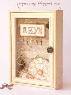 Chicken Wire key cabinet. Chicken Wire Crafts, Key Cabinet, Craft Projects, Projects To Try, Spring Fair, Spring Crafts, Altered Art, Repurposed, New Homes