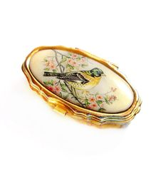 Cute Bird Pill Box / Gold Metal