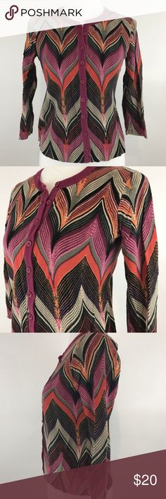 "Tabitha Anthropologie Chevron Pink Cardigan Pre-owned Tabitha Anthropologie Chevron Pink Cotton Cardigan Sweater 3/4 Sleeve Size M. Small amount of pilling under arm.  Measures: Bust: 17"" Waist: 15.5"" Length: 19""  Please review item photos carefully. Please ask questions about this item. All items from Arias Clothing come from a smoke free home. We ship Monday thru Friday. Check out our other items for sale!  Item Location: 043 Anthropologie Sweaters Cardigans"