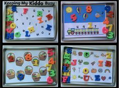 Free alphabet and number magnetic mats - perfect for traveling with kids in the car, quiet time activity for classroom center. Print and use with a cookie sheet and magnets! Quiet Time Activities, Counting Activities, Alphabet Activities, Travel Activities, Educational Activities, Preschool Activities, Preschool Alphabet, Kindergarten Centers, Preschool Kindergarten