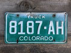 Colorado Truck License Plate Number 8187AH in Green with White Letters    #LicensePlate #Green #ManCave #Truck #CoLicensePlate #GreenLicense #GreenAndWhite #ColoradoTruck #Colorado