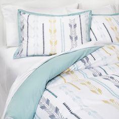 Room Essentials™ Arrow Print Duvet Cover Set - Aqua (King) : Target