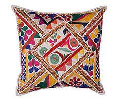Cojín bordado a mano en algodón banjara Ubayda – 45x45 cm