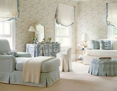 """Soothing colors and light window treatments -- it just says """"Relax""""."""